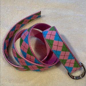 Douglas Paquette D-Ring Preppy Plaid Canvas Belt